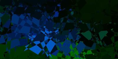 Dark blue, green vector backdrop with chaotic shapes.