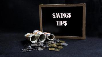 Money saving tips concept photo