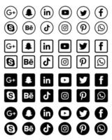 Black and white social media icons collection vector