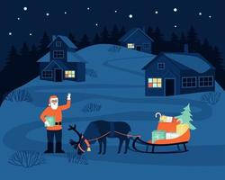 Santa Claus came to the village at night to deliver gifts to children vector