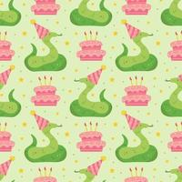 Happy birthday seamless pattern Cute animal snake in holiday hat vector