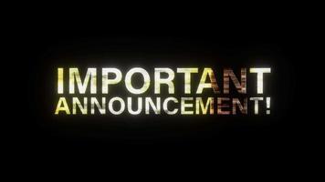 Important Announcement Glitch Text video