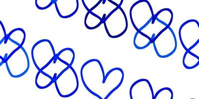 Light BLUE vector background with Shining hearts.