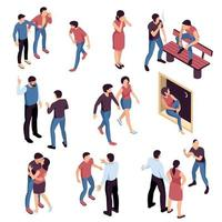 Teenagers Problems Isometric Set Vector Illustration