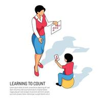 Kindergarten Learning Isometric Illustration Vector Illustration