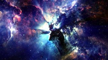 voler à travers le champ d'étoiles de l'espace video