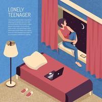 Isometric Teenager Bedroom Background Vector Illustration