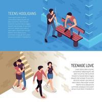 Teenage Life Horizontal Banners Vector Illustration