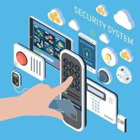 Security System Isometric Composition Vector Illustration