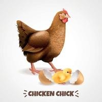 Hatching Chick Realistic Poster Vector Illustration