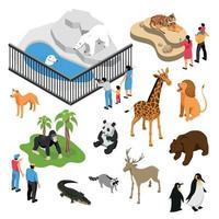 Zoo People Isometric Set Vector Illustration