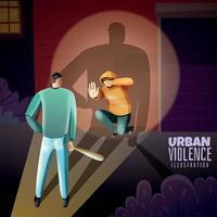 Ilustración de vector de cartel de violencia de crimen