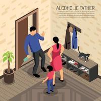 Alcoholic Father Isometric Illustration Vector Illustration
