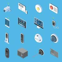 Home Security Isometric Icons Vector Illustration