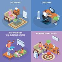 Home Climate Control 2x2 Design Concept Vector Illustration