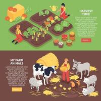 Isometric Farm Banners Vector Illustration
