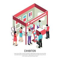 Exhibition Isometric Booth Background Vector Illustration