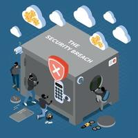 Security Breach Isometric Composition Vector Illustration