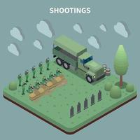 Shootings Isometric Background Vector Illustration