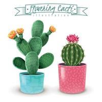 Flowering Cacti Realistic Set Vector Illustration