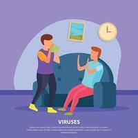 Viruses Flat Background Vector Illustration