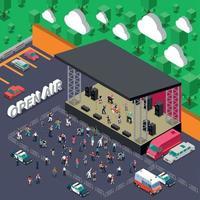 Open Air Music Concert Vector Illustration