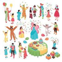Kids Holidays Animator Set Vector Illustration