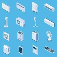 Home Climate Control Isometric Icons Vector Illustration