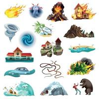 Natural Disasters Icons Set Vector Illustration