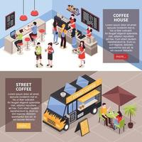 Coffee House Banners Set Vector Illustration