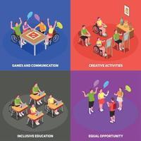 Inclusive Education 2x2 Set Vector Illustration
