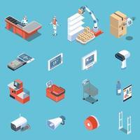 Supermarket Of Future Isometric Icons Vector Illustration