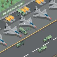 Military Airfield Isometric Composition Vector Illustration