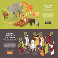 narrativas bíblicas banners horizontales ilustración vectorial vector