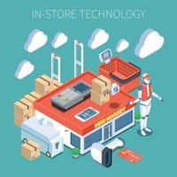 Shop Technology Isometric Composition Vector Illustration