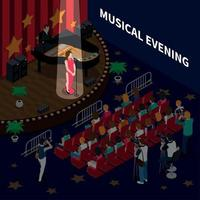 Musical Evening Isometric Composition Vector Illustration