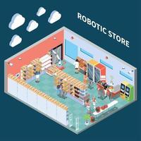 Robotic Store Isometric Composition Vector Illustration