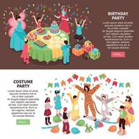 Birthday Party Entertainment Banners Vector Illustration