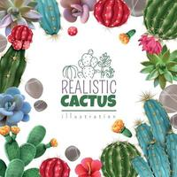 Cactus Succulents Realistic Frame Vector Illustration