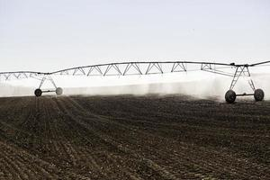 Automatic irrigation system in a cereal field photo