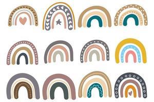 Set of cute rainbows in scandinavian style vector