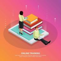 Online Training Isometric Design Concept Vector Illustration