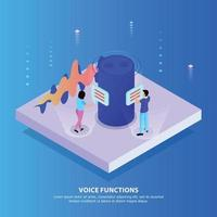 Voice Functions Isometric Background Vector Illustration