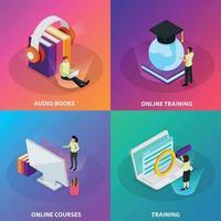 Online Learning 2x2 Design Concept Vector Illustration