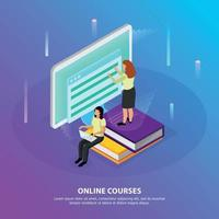 Online Courses Isometric Background Vector Illustration
