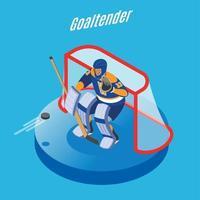 Hockey Goaltender Isometric Background Vector Illustration
