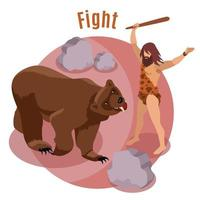 Stone Age Hunting Concept Vector Illustration