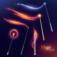 Magic Wands Transparent Set Vector Illustration