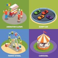 Amusement Park 2x2 Design Concept Vector Illustration