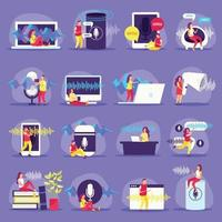 Voice Functions Flat Icons Vector Illustration
